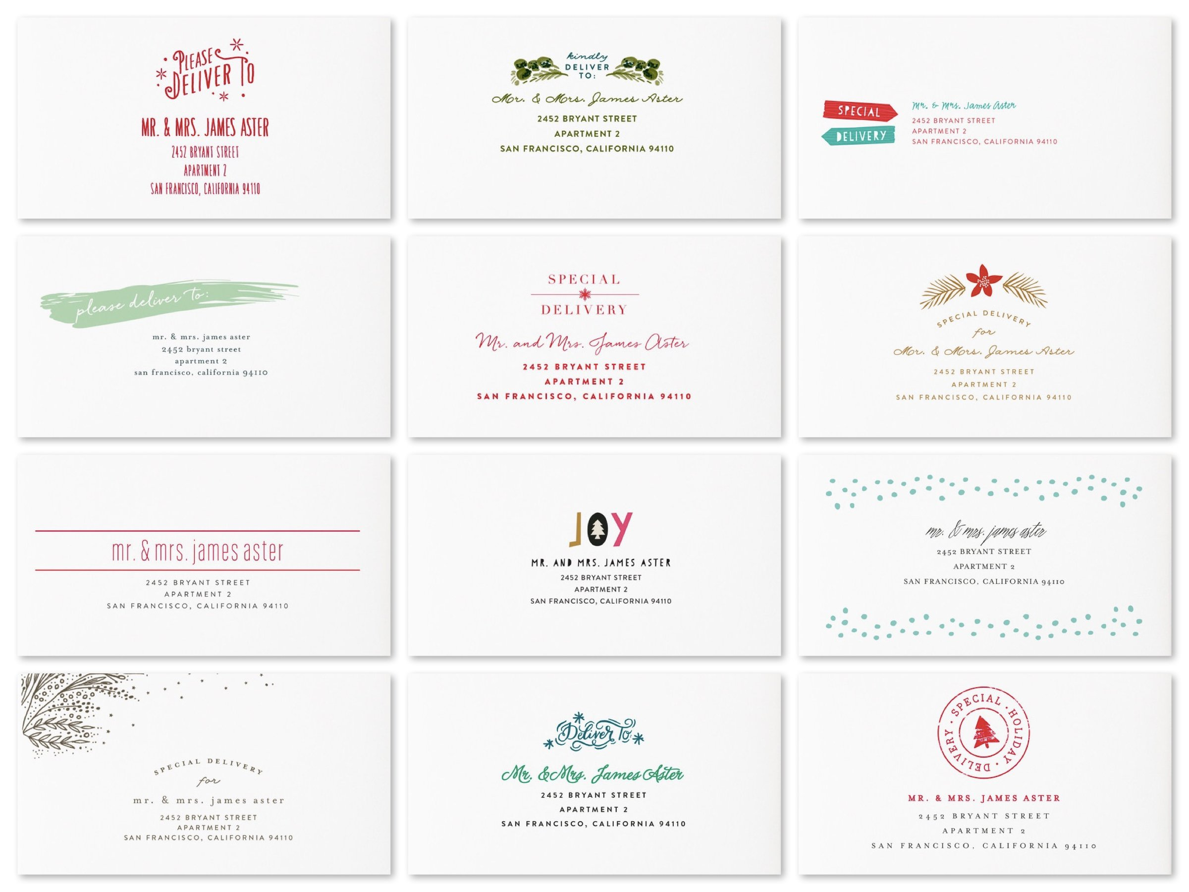 Minted Holiday Card Envelopes Free Recipient Addressing Designs