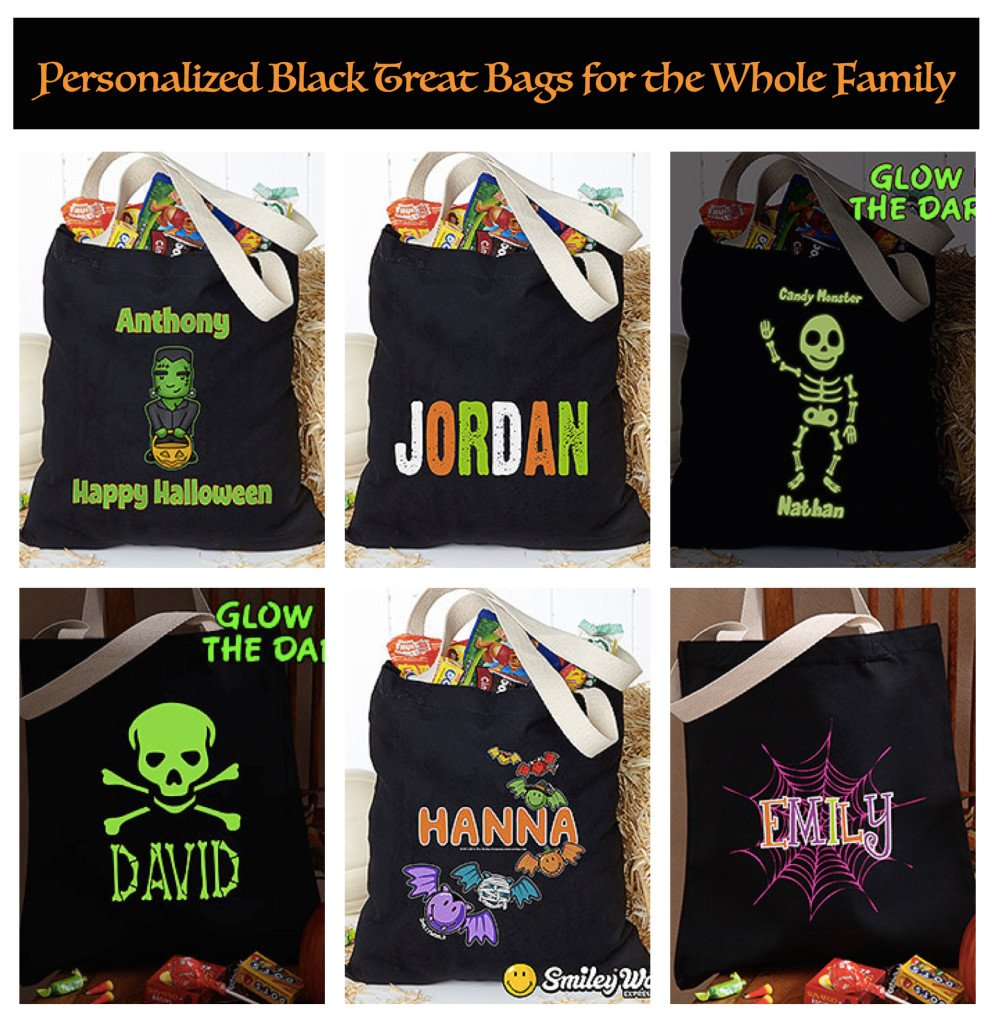 Personalized Black Halloween Treat Bags, Re-Usable Halloween Trick or Treat Bags