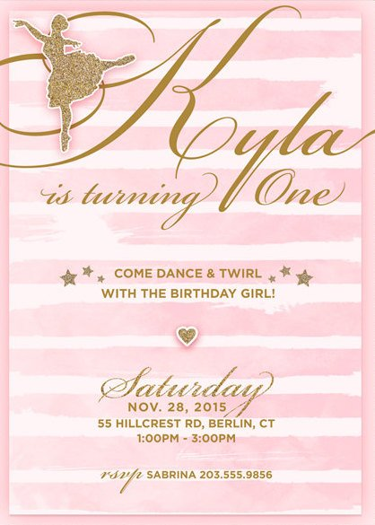 Printable Ballerina Birthday Party Invitation