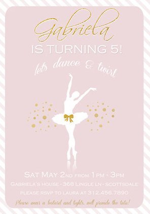 Printable Ballerina birthday invitation
