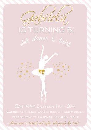Printable Ballerina birthday invitation