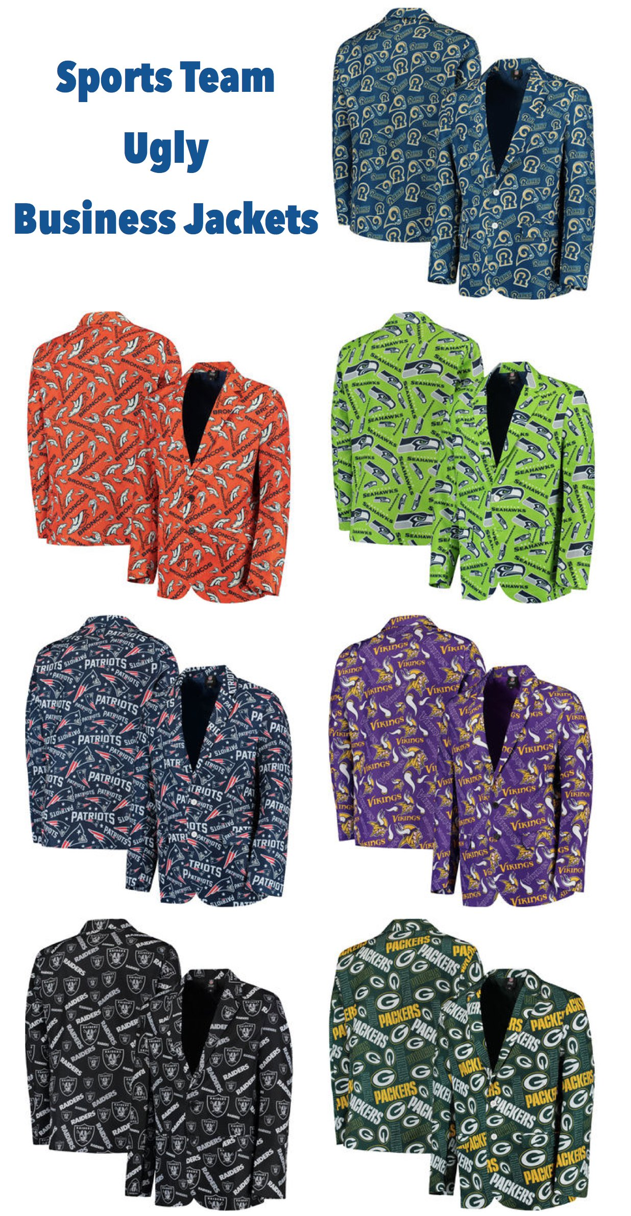 Sports Team Ugly Sweater Repeat Pattern Business Jackets