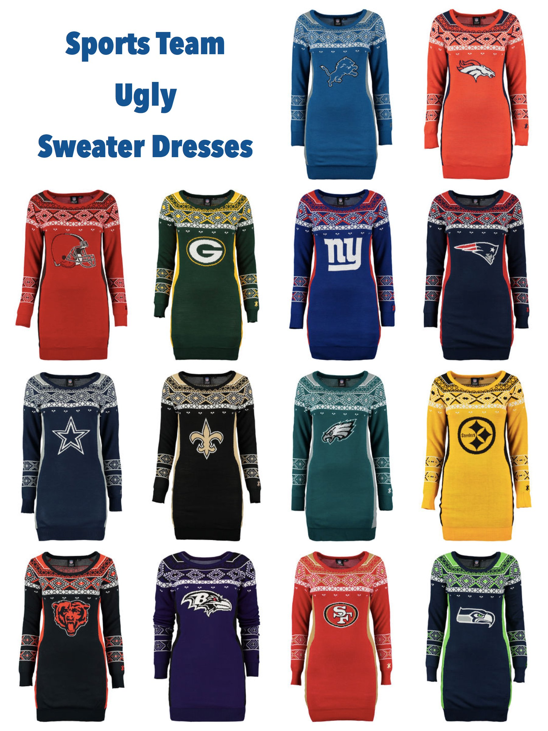 Sports Team Ugly Sweater Dresses