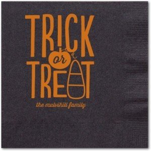Tricky Sweet - Personalized Napkins in Black Napkin, Personalized Halloween Cocktail Napkins