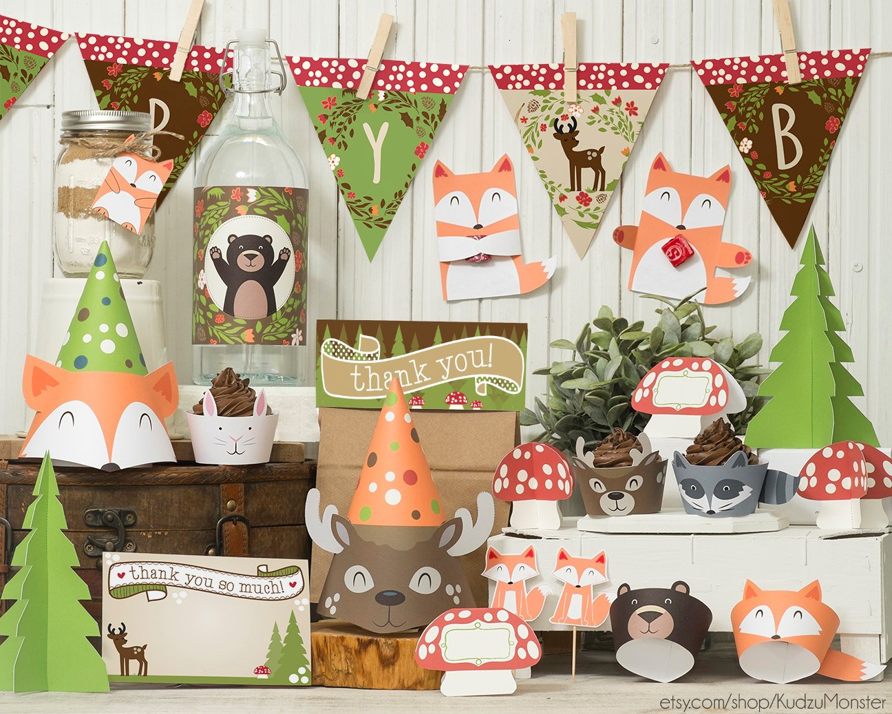 Gender neutral woodland animals baby shower party supplies for Animal party decoration