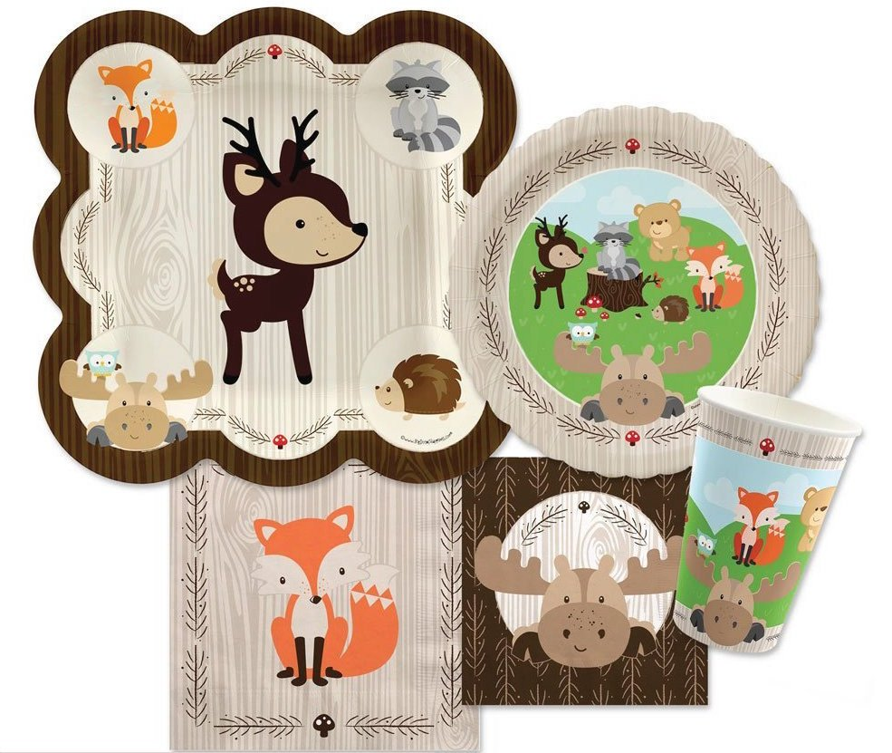 Gender Neutral Woodland Animals Baby Shower Party Supplies ...