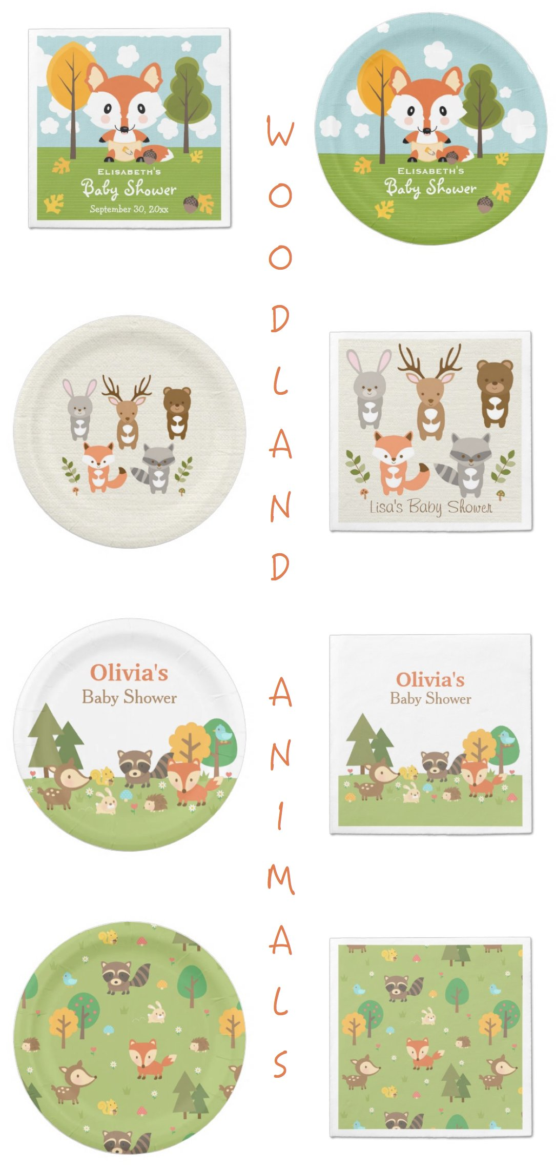 Woodland Animals Party Paper Plates & Napkins