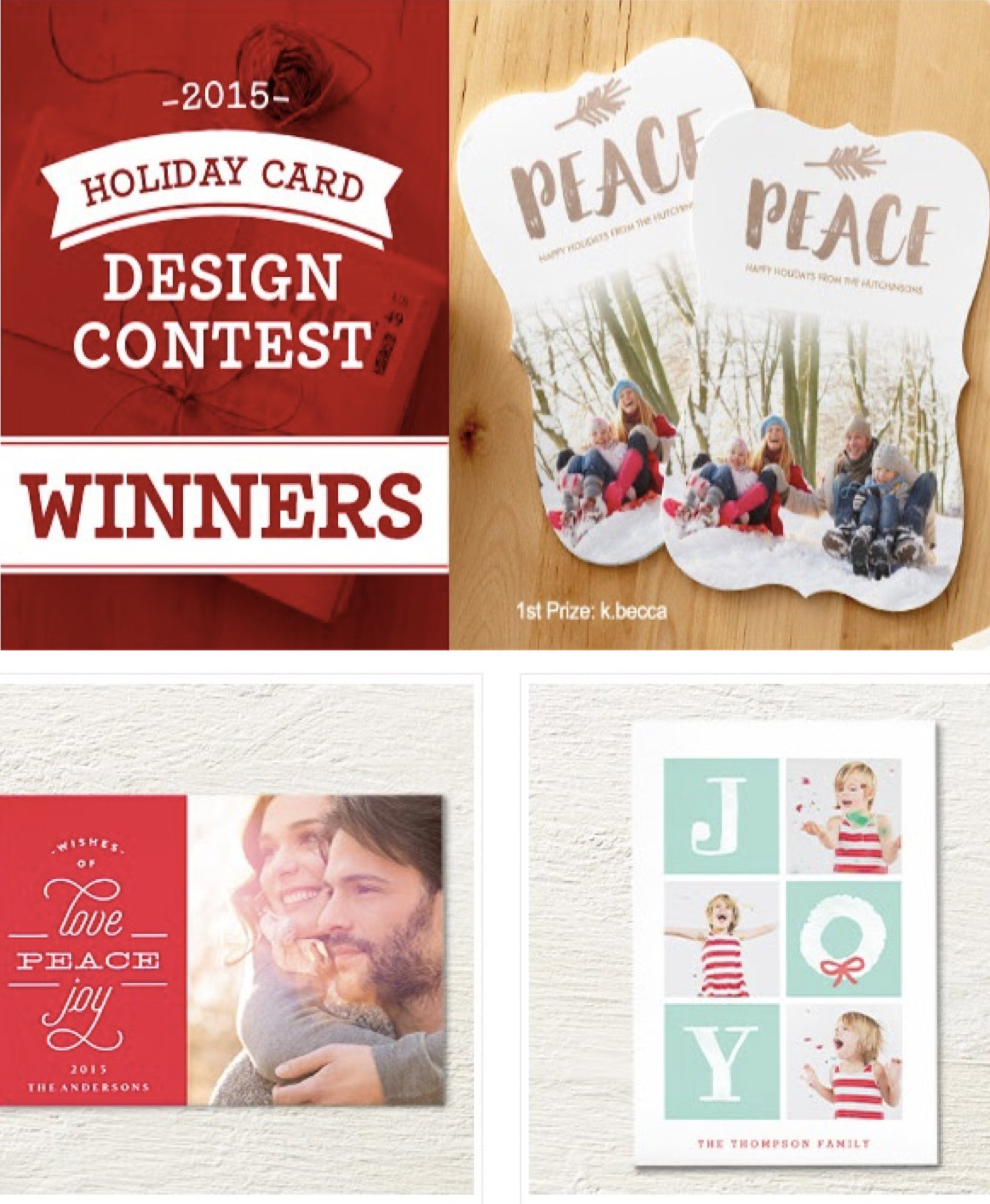 2015 Holiday Card Winning Designs | Christmas Cards | PartyIdeaPros.com