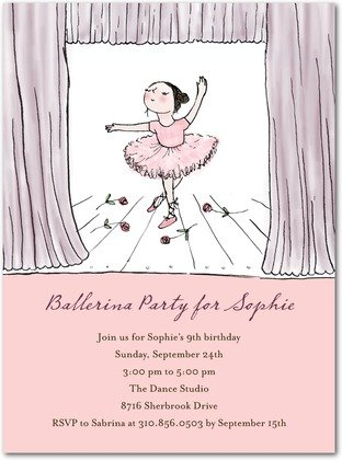 ballerina stage birthday party invitations