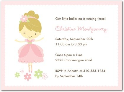 pink ballerina birthday party invitations