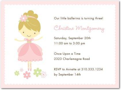 pink ballerina birthday party invitations