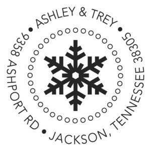 Snowflake Pop Custom Self Inking Stamps, Holiday Card Envelopes