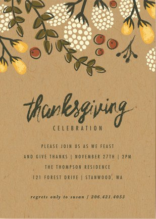 Festive Autumn Foliage Thanksgiving Party Invitations