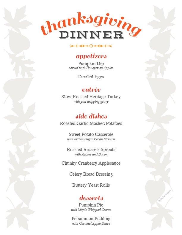 Free Printable Editable Thanksgiving Dinner Menu