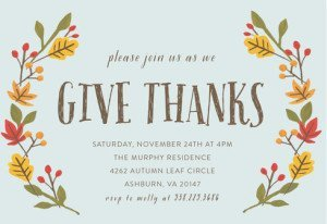 Giving Thanks Thanksgiving Party Invitations