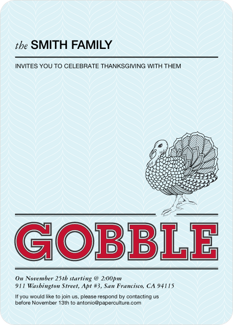 Gobble Gobble Thanksgiving Invitations
