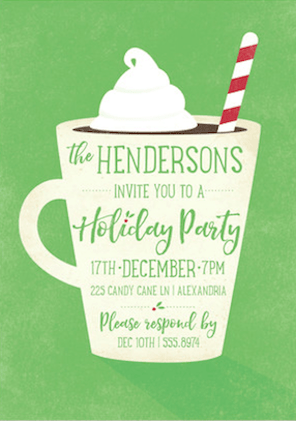 Hot Chocolate Bliss Green Holiday Party Invitations