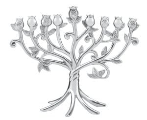 Lenox Judaic Blessings Metal Menorah