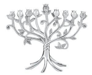 Lenox Judaic Blessings Metal Menorah