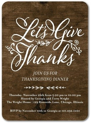 Let's Give Thanks Thanskgiving Invitations