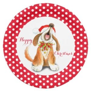 Singing Dog Happy Christmas Paper Plates