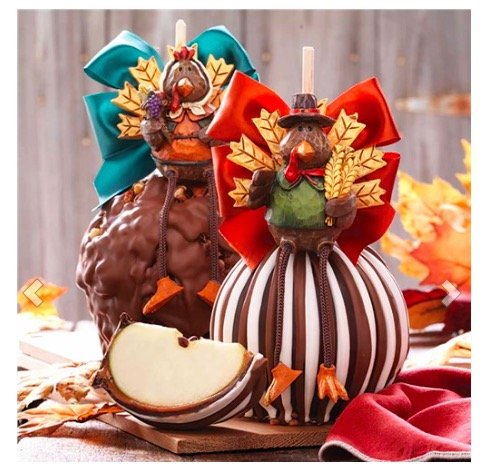 Mr. & Mrs. Turkey Jumbo Caramel Apple Gift Set, Edible Thanksgiving Centerpieces