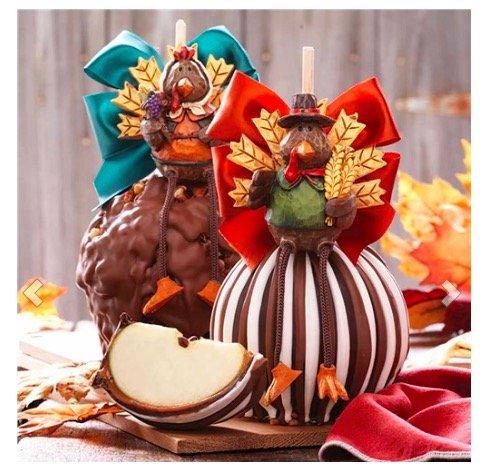 Mr. & Mrs. Turkey Jumbo Caramel Apple Gift Set, Edible Thanksgiving Centerpieces