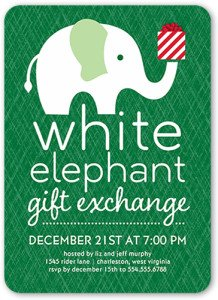 White Elephant Gift Exchange Holiday Invitation, Holiday Grab Bag, White Elephant Gift Exchange, Stocking Stuffers & Gag Gift Ideas