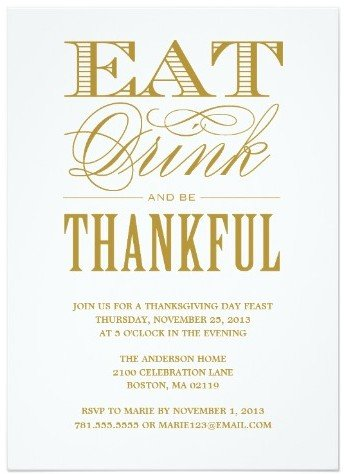 Be Thankful Thanksgiving Dinner Invitation