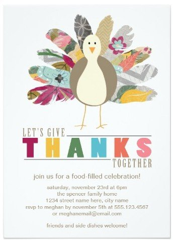 Feathered Friend Thanksgiving Invitation