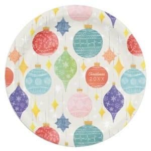 Watercolor Ornaments Christmas Paper Plates