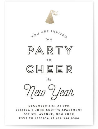 Cheer the New Year Foil-Pressed Party Invitation