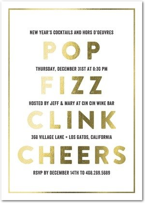 Drink Clink New Years Party Foil Stamped Invitations