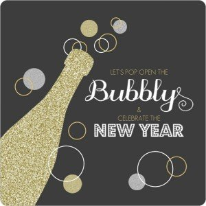 Gold Glitter Champagne Bubbly New Years Invitation