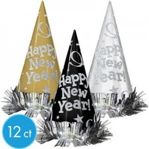 Happy New Year Small Metallic Cone Hat