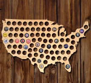 Natural Birch Plywood Beer Cap Map of USA