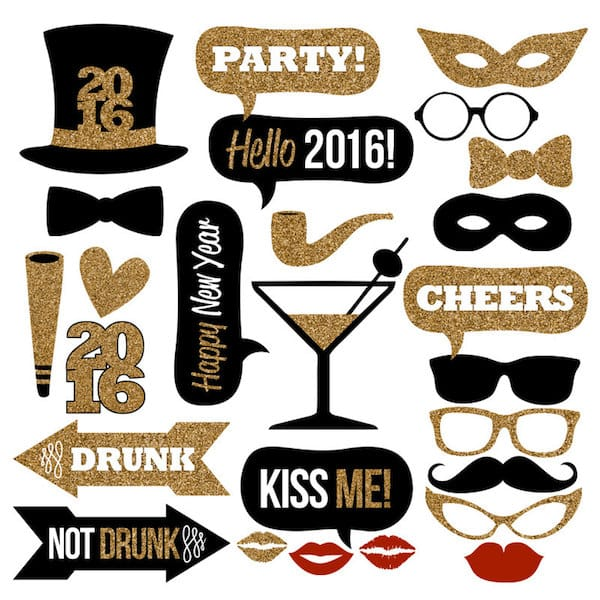 New Years Eve Printable Photo Booth Props