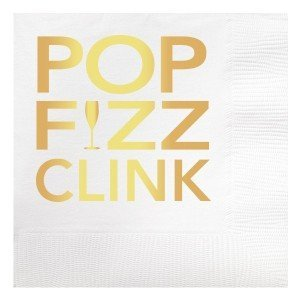 Pop Fizz Clink Gold Foil Beverage Napkin