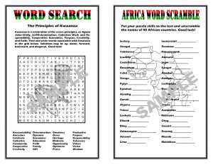 Printable Kwanzaa Word Search and Word Scramble