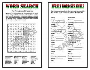Printable Kwanzaa Word Search and Word Scramble