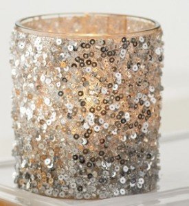 Silver Glitter Glass Votive