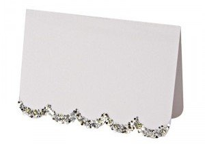 Silver Glitter Scalloped Placecards