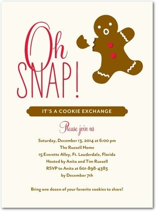 Oh Snap Gingerbread Man Cookie Exchange Invitation