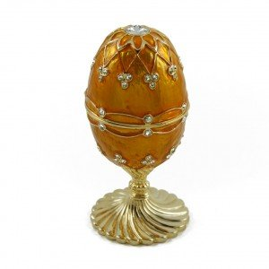 orange peel musical faberge egg with gold spiral base