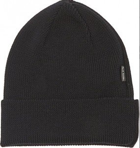 Black Riibbed Wool Beanie