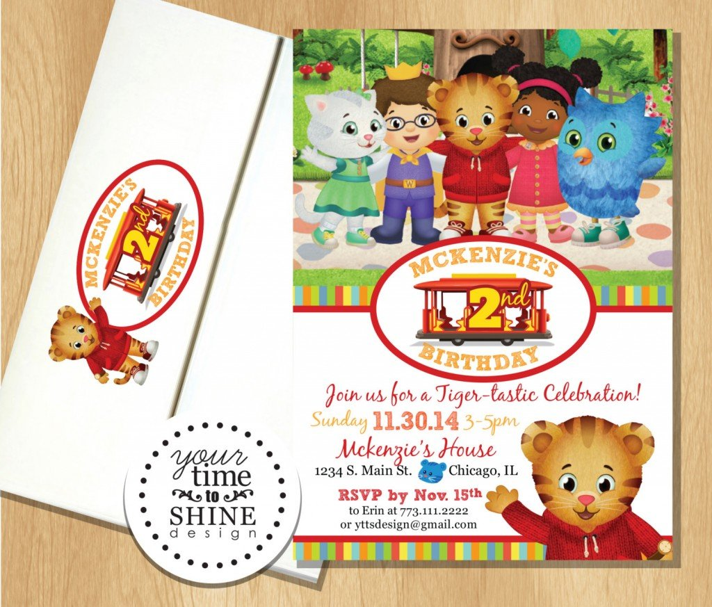 Daniel Tiger and Friends Invitations with Custom Printed Envelopes