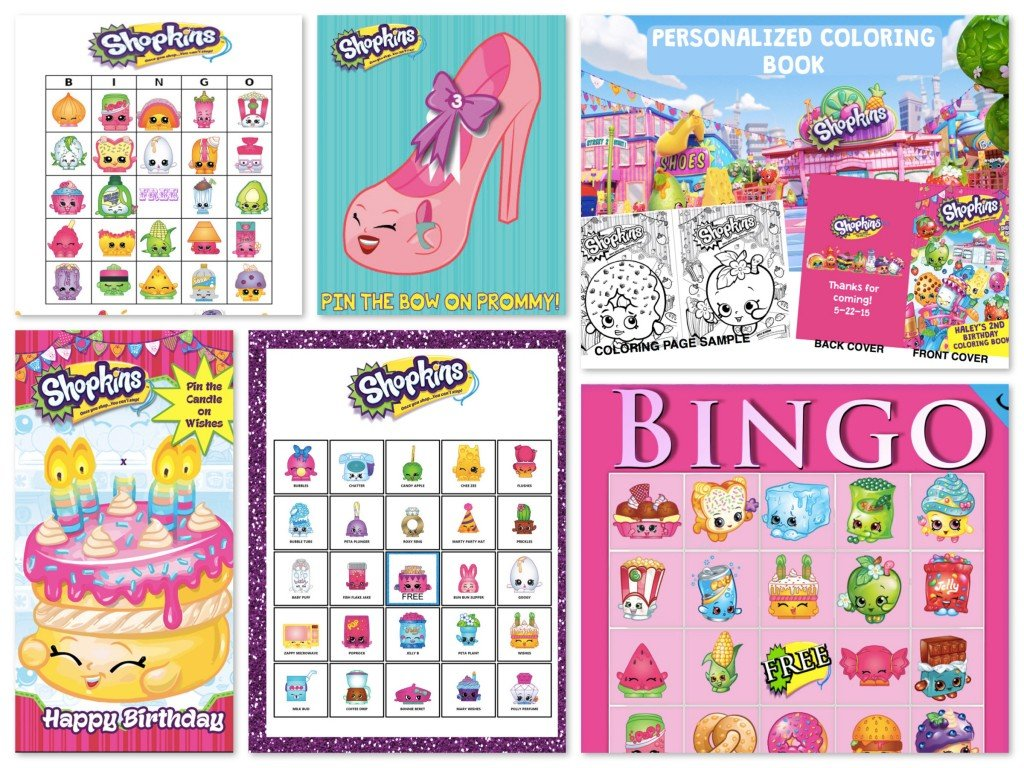 Printable Shopkins Birthday Party Games Activities