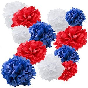 Red white blue pom poms