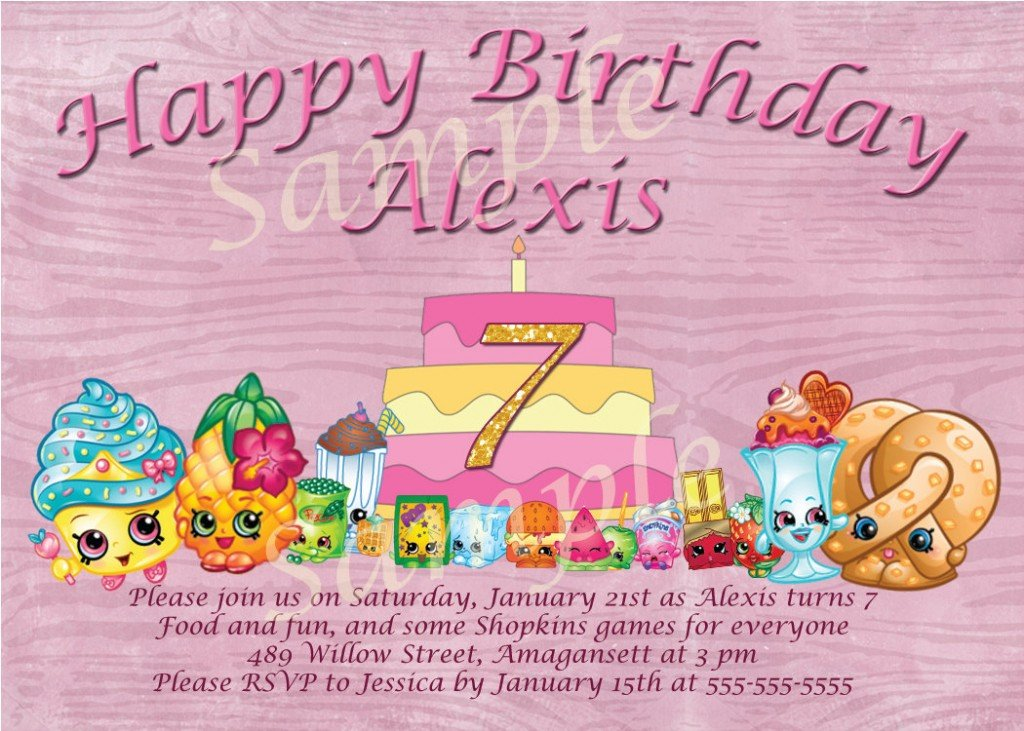 Shopkins Birthday Party Invitations