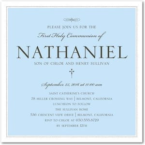 Baby Blue Holy Communion Invitations for Boys
